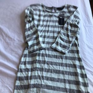French Connection NWT grey and blue stripe dress
